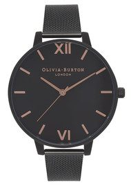 Olivia Burton After Dark Black Dial Mesh Watch - Rose Gold