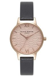 Olivia Burton Scalloped Design Midi Dial Watch - Black & Rose Gold