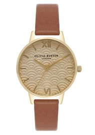 Olivia Burton Scalloped Design Midi Dial Watch - Tan & Gold