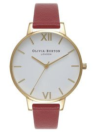 Olivia Burton Big Dial White Dial Watch - Red & Gold