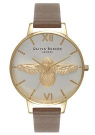 Olivia Burton Moulded Bee Watch - Taupe, Gold & Silver