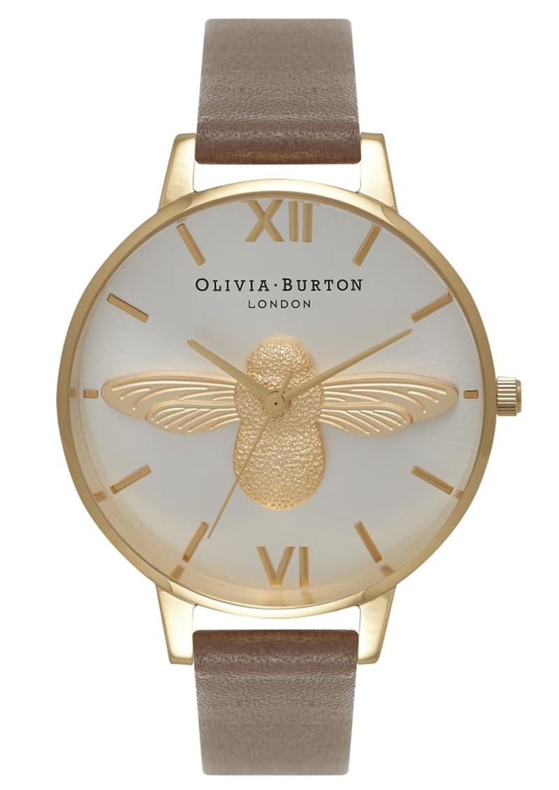 Olivia Burton Moulded Bee Watch - Taupe, Gold & Silver main image