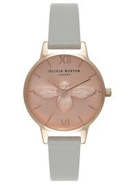 Olivia Burton Midi Moulded Bee Watch - Grey & Rose Gold