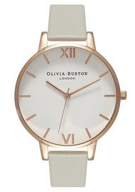 Olivia Burton White Dial Watch - Grey & Rose Gold