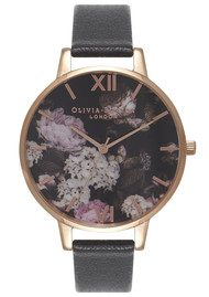 Olivia Burton Winter Garden Hydrangea Watch - Black & Rose Gold