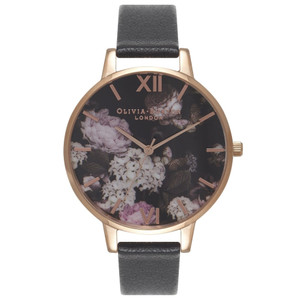 Winter Garden Hydrangea Watch - Black & Rose Gold