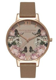Olivia Burton Enchanted Garden Mirror Floral Watch - Taupe & Rose Gold