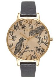 Olivia Burton Animal Motif Birds in Love Sunray Watch - Black & Gold