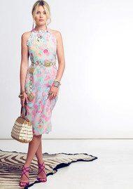 RIXO London Millie Ruffle Halter Neck Midi Dress - Neon Spot