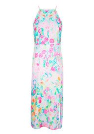 RIXO London Millie Ruffle Halter Neck Midi Dress - Neon Spot