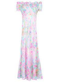 RIXO London Issy Ruffle Off The Shoulder Dress - Neon Spot