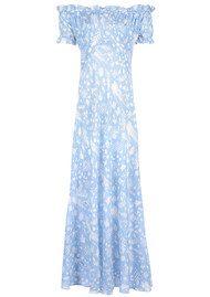 RIXO London Issy Ruffle Off The Shoulder Dress - Blue Rosemary