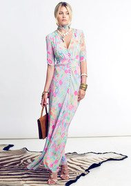 RIXO London Gweneth Maxi Dress - Neon Spot