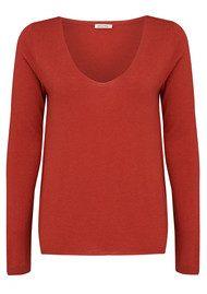 American Vintage Blossom Long Sleeve Sweater - Brick