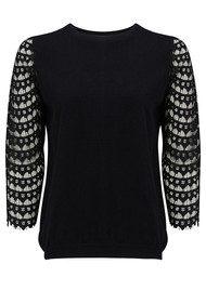 SUNCOO Pucci Lace Sweater - Noir