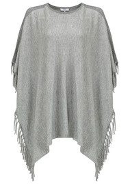 SUNCOO Pascale Fringe Poncho Top - Gris Chine