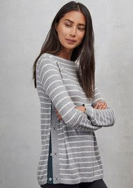 Great Plains Sirri Striped Popper Jumper - Grey Melange