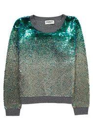 Essentiel  Murene Sequin Sweater - Jasmin Green