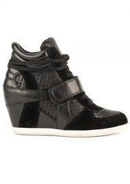 Ash Bowie Wedge Black Textured Trainers - Black