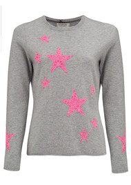 COCOA CASHMERE Lace Star Cashmere Jumper - Grey & DayGlow