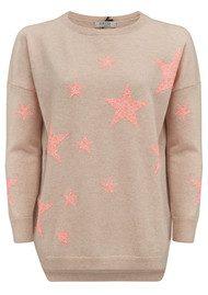COCOA CASHMERE Lace Star Cashmere Jumper - Oatmeal & Mango
