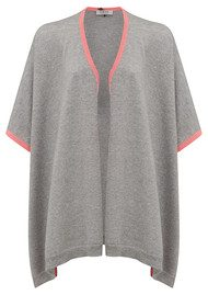 COCOA CASHMERE Colour Tipping Cashmere Cardigan - Grey & Mango