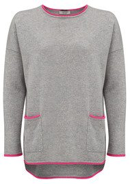 COCOA CASHMERE Boxy Pocket Cashmere Jumper - Grey & DayGlow