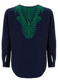 FOX & B Tribal Embroidered Blouse - Navy & Emerald