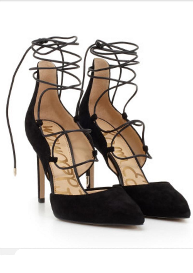 2a32602426ff Sam Edelman Helaine Suede Lace Up Heel - Black