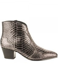 Ash Hurrican Python Embossed Ankle Boot - Piombo