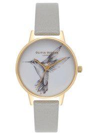 Olivia Burton Animal Motif Midi Hummingbird Watch - Grey & Gold