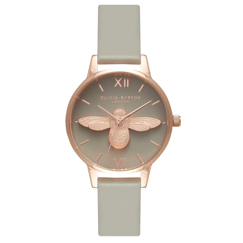 Midi Moulded Bee Grey Dial Watch - Grey & Rose Gold