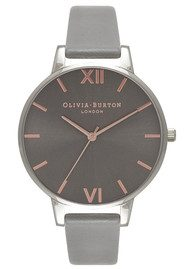 Olivia Burton Big Dark Grey Dial Watch - Grey, Rose Gold & Silver