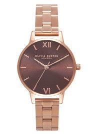 Olivia Burton Midi Brown Dial Bracelet Watch - Rose Gold