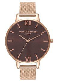 Olivia Burton Big Brown Dial Mesh Watch - Rose Gold