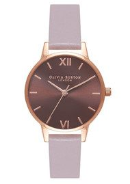 Olivia Burton Midi Brown Dial Watch - Grey Lilac & Rose Gold