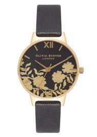 Olivia Burton Lace Detail Midi Watch - Black & Gold