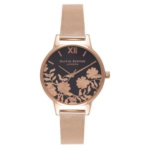Lace Detail Midi Black Dial Mesh Watch - Rose Gold