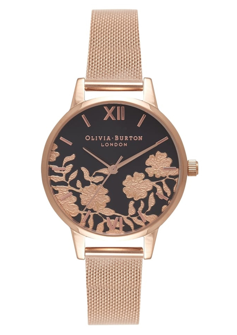 Olivia Burton Lace Detail Midi Black Dial Mesh Watch - Rose Gold main image