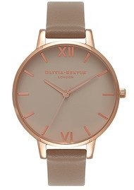 Olivia Burton Big Greige Dial Watch - Taupe & Rose Gold