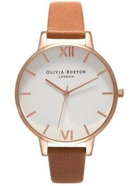 Olivia Burton Big Dial White Dial Watch - Tan & Rose Gold