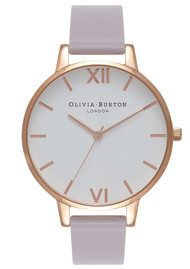 Olivia Burton Big Dial White Dial Watch - Grey, Lilac & Rose Gold