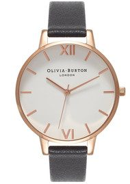 Olivia Burton Big Dial White Dial Watch - Black & Rose Gold