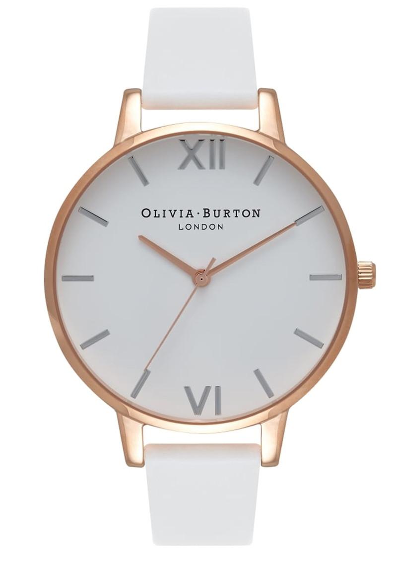 Olivia Burton Big Dial White Dial Watch - White, Rose Gold & Silver main image
