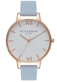 Olivia Burton Big Dial White Dial Watch - Chalk Blue & Rose Gold