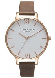 Olivia Burton Big Dial White Dial Watch - Brown & Rose Gold