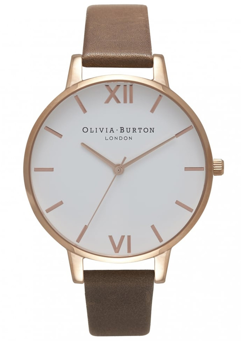 Big Dial White Dial Watch - Brown & Rose Gold main image