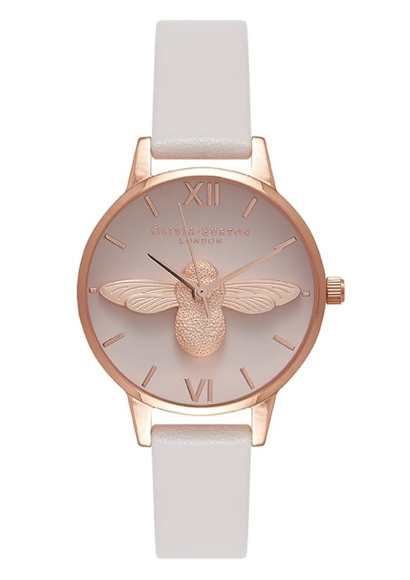 Olivia Burton Midi Moulded Bee Blush Dial Watch - Blush & Rose Gold main image