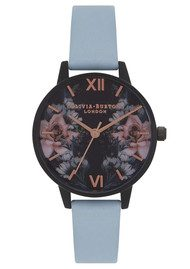 Olivia Burton After Dark Floral IP Black Midi Watch - Chalk Blue & Rose Gold