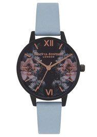 Olivia Burton After Dark Floral IP Black Midi Watch - Chalk Blue & Rose Gold
